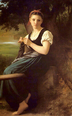 Stunning Oil painting Bouguereau - The Knitting beautiful girl in landscape 36""