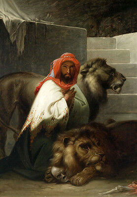 No framed art Oil painting Male portrait Arab with his pets beasts  lions canvas