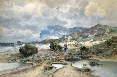 No framed Oil painting landscape with Village by the ocean free shipping cost