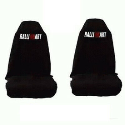 Black - Car Seat Covers Mitsubishi Ralliart Slip On Throw Over Embroidered One P