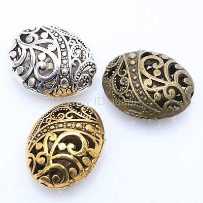 10Pcs Tibetan Antique silver Ellipse Shaped Hollow Spacer Bead For Gift