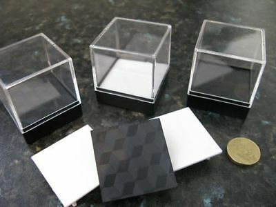 10 Clear Crystal Mineral Display boxes with stage