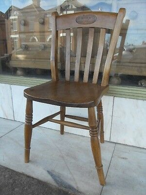 Edwardian Antique Kitchen Dining Chair / NAAFI Supper Room Serv Bar