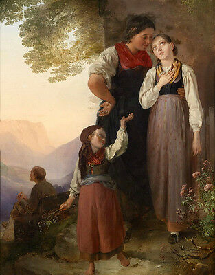 Large Oil painting female portraits young countrywomen with little girl in dusk