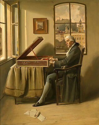Beautiful huge oil painting male portrait pianist creating his melody in studio