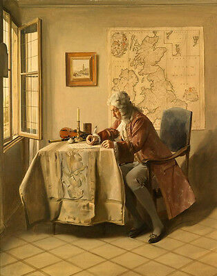 Huge oil painting male portrait Navigator voyager writing his Logbook on canvas