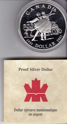 2001 Canada Proof $1 50th Ann. National Ballet Of Canada .925 Silver Dollar