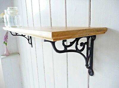 Vintage Style Solid Pine Country Home Single Shelf - Shabby Chic Black Brackets