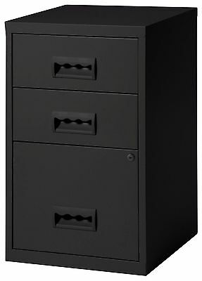 3 Drawer A4 Filing Cabinet -  660H x 400W x 400D mm - colour black, 3 draw