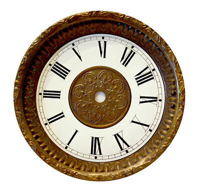 "NEW 5-3/4"" Antique Brass Embossed Clock Dial, Pan and Bezel Assembly (DB-10)"