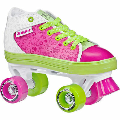 Roller Derby Zinger Kids/Girls Retro Funky Pink Green Roller Skates  US Sz 1-5