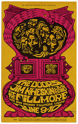 THE DOORS  Fillmore West postcard  (June 9th-10th 1967)  Rock Music Posters