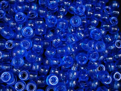Pony Beads 9x6mm Blue Transparent 500pc Bulk Pack Kids Hair FREE POSTAGE