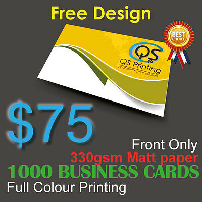 1000 Business Cards full colour Printing (Front ONLY) on 330gsm paper+FreeDesign
