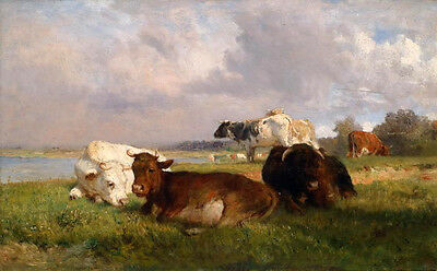 """Large Oil painting animals cows have a rest on the grass by river no framed 36"""""""