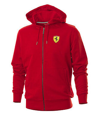 Ferrari Mens Hooded Hoodie Sweat Jacket - Red or Black - XS S XL XXL - RRP £127