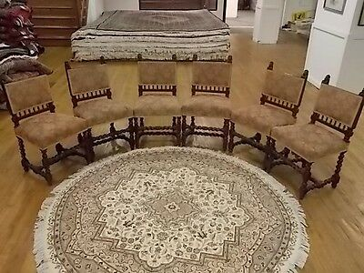 19Th C. French Antique Barley Twist Walnut & Tapestry Side Chairs