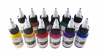 Airbrush Paint- Pro Color - Transparent Set (Kit Of 12  - 1Oz Bottles)