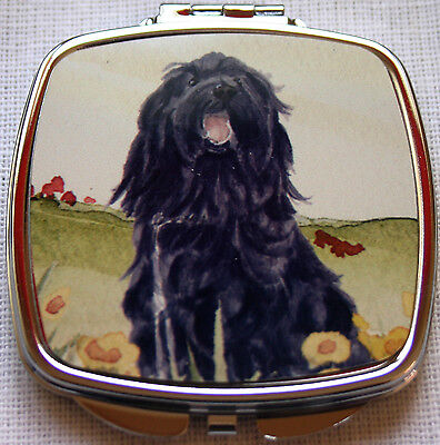 BRIARD DOG design ladies handbag mirror compact purse Sandra Coen sublimation