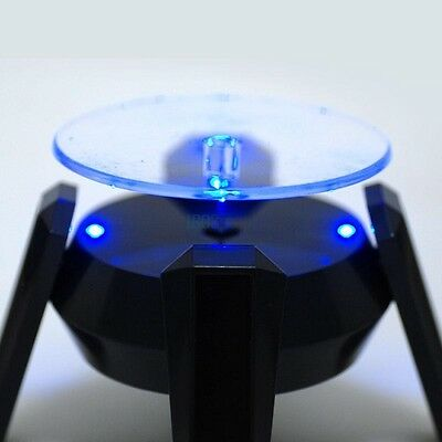 360 Degree 4 LED Solar Powered Rotating Turntable Jewelry Display Stand Plate