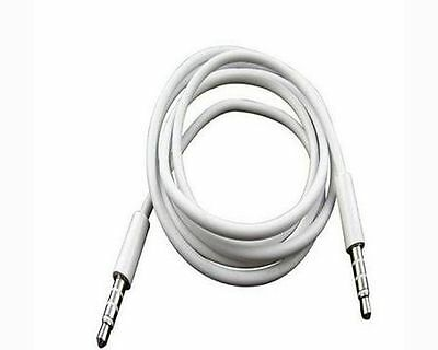 WHITE 3.5mm TO 3.5mm CAR AUX AUDIO CABLE For iPhone, Samsung, LG, Nokia, mp3
