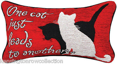 """Decorative Pillows - """"one Cat Just Leads To Another"""" Throw Pillow - Cat Pillow"""