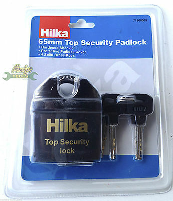 Hilka 65mm Top Security Padlock with 4 Solid Brass Keys & Hardened Shackle