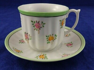 Made in Occupied Japan Green and White with Flowers Tea Cup and Saucer