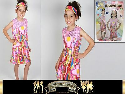 Fancy Dress Up Groovy Girl Childrens 2 Sizes Costume