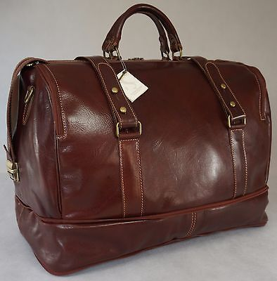 Duffle Weekend Travel Overnight Gym Bag Holdall Luggage Genuine Italian Leather