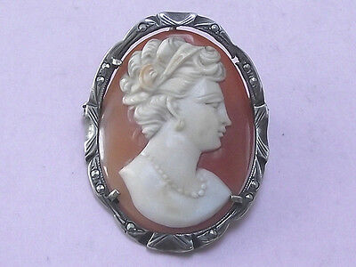 Vintage Silver Marcasite & Hand Carved Cameo Pendant Brooch Pin 1950