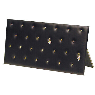 Pendant Easel Display Pad With 26 Hooks Faux Black Leather