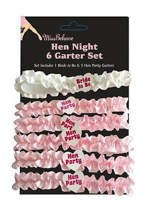 Pack of 6 Hen Night Party Bride to Be Hot Elastic Garter Pink & White Accessory