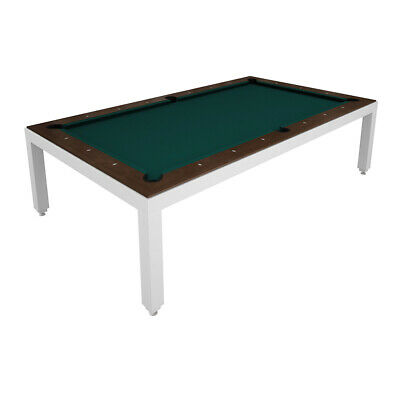White Powder Coated Fusion Pool Table - Wood Top