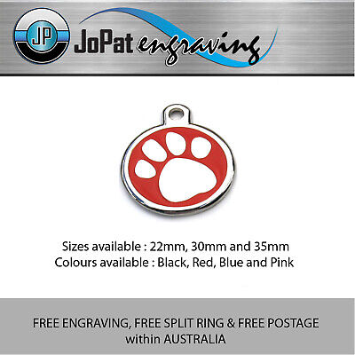 Deluxe Pet PAW ID Tag Dog Kitten Puppy Cat Name Tags Personalised Engraved