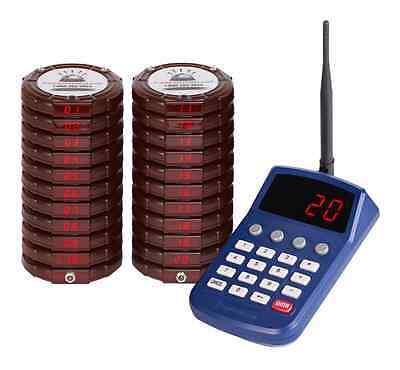 Pager Genius 20 Digital Red Restaurant Coaster Pagers *Complete Paging System*