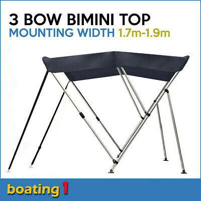 3 Bow 1.8m-2.0m Blue Boat Bimini Top Canopy Cover With Rear Poles & Sock