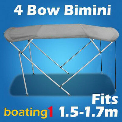 4 Bow 1.5m-1.7m Grey Boat Bimini Top Canopy Cover With Rear Poles & Sock