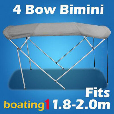4 Bow 1.8m-2.0m Grey Boat Bimini Top Canopy Cover With Rear Poles & Sock
