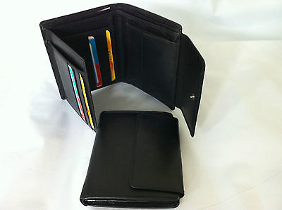 Leather Wallet w/ 6 Credit Card Holder & Coin Holder AE-30 Black