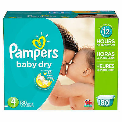 Pampers Baby Dry Diapers, Size 4 (22-37 lbs.), 180 ct.