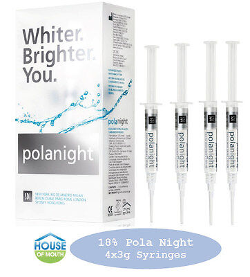 Teeth Whitening/Bleaching Syringes 18% Polanight 4 x 3gram Syringes FREE Bonuses
