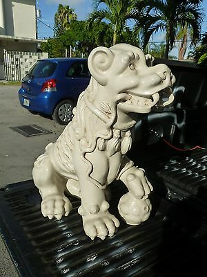 70's Spanish White Glazed Terracotta Figure Of Chinese Foo Dog In Italian Style