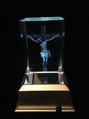 Jesus On Cross -  3D Laser Etched Crystal Block With Clear LED Light base