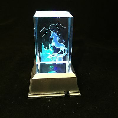 Unicorn-3D Laser Etched Crystal Block With 4 Lights LED Light base