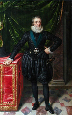 Art Oil painting male portrait king of Henri Pourbus standing with sword canvas