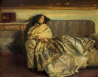 Dream-art Oil painting Sargent - Portrait of young woman Repose on sofa canvas
