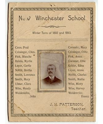 1892 Photo J. H. Patterson Teacher New Winchester School+Students Names Cab Card