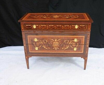 Regency Sheraton Chest Drawers Commode Marquetry Inlay Furniture