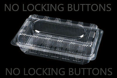 """50 Clear Plastic 7"""" Take Out Container Sushi Favor Cookie Fruit  #AH4 NO LOCKING"""